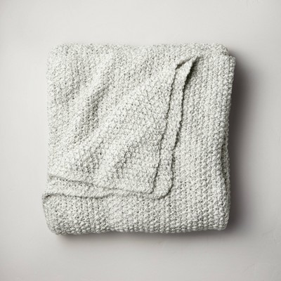 King Chunky Knit Bed Blanket Marled Gray - Casaluna™