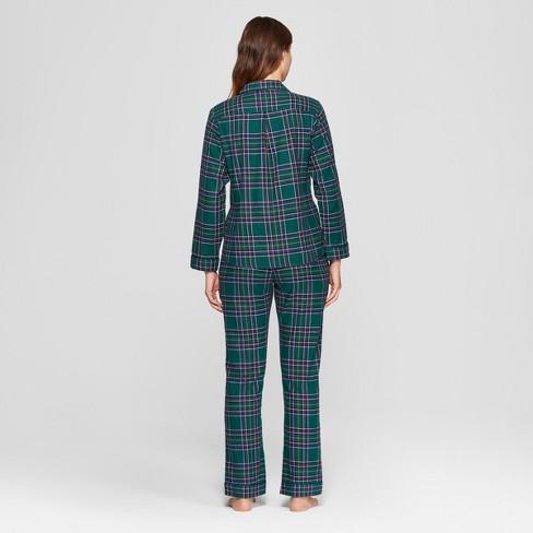 86515f07a3 Women s Plaid Flannel Notch Collar Pajama Set - Gilligan   O Malley™ Green  L   Target