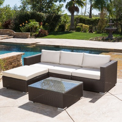 Santa Rosa 5pc Wicker Seating Sectional Set with Cushions - Christopher Knight Home
