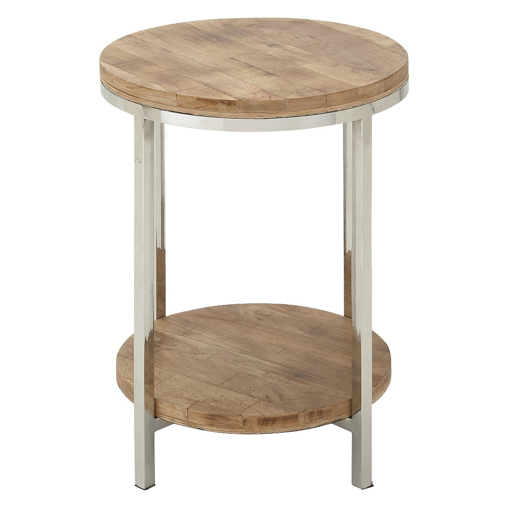 Metal and Wood 2 Tiered Round Accent Table Oak (Brown) - Olivia & May