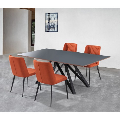 Stupendous Set Of 2 Homer Contemporary Dining Chair Orange Modern Home Camellatalisay Diy Chair Ideas Camellatalisaycom