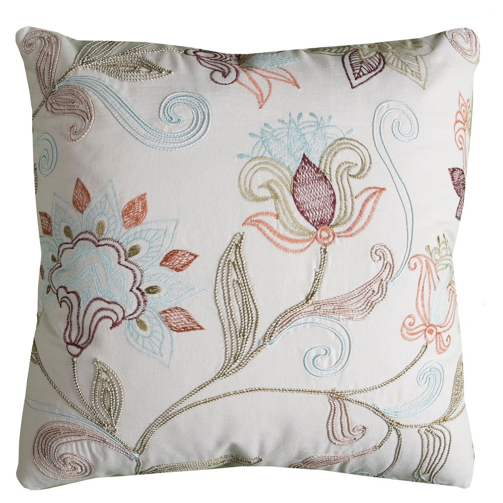 Image of Floral Throw Pillow - (20x20) - Rizzy Home, Multi-Colored