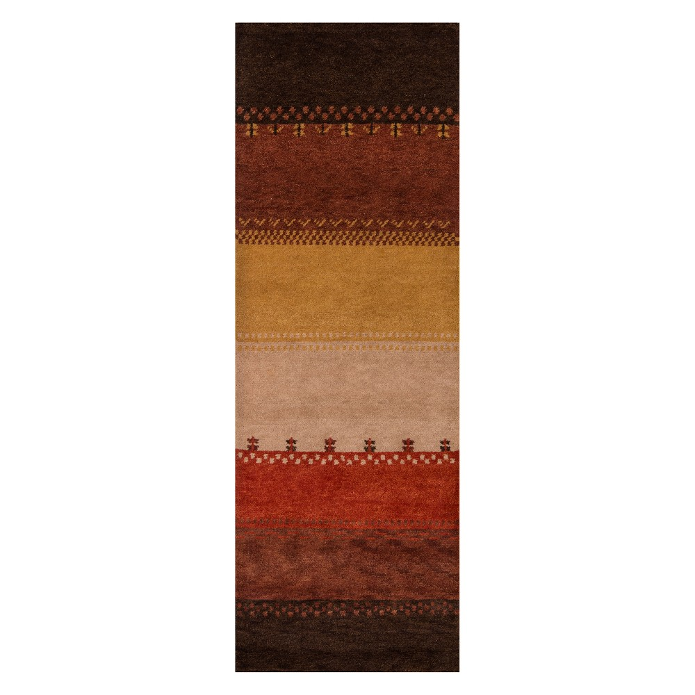 2'6X8' Stripe Knotted Runner - Momeni, Multicolored