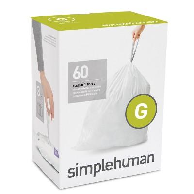 simplehuman 30L 60ct Code G Custom Fit Trash Bags Liner White