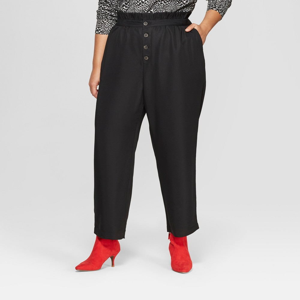 Women's Plus Size Relaxed Button Front Ankle Trouser - Who What Wear Black 4X