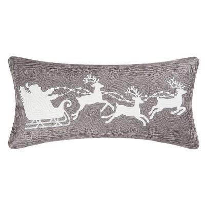 "C&F Home 12"" x 24"" Sleigh Gray Rice Stitch Pillow"