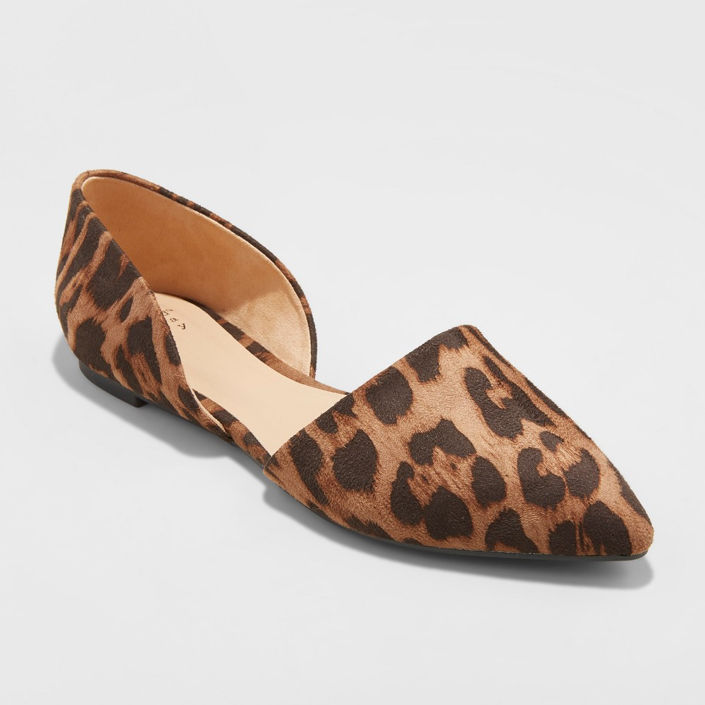 Women's Rebecca Wide Width Pointed Two Piece Ballet Flats - A New Day Brown 8.5W, Size: 8.5Wide