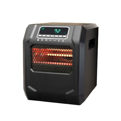 Lifesmart 4-Element Quartz Infrared Portable Large Room Electric Space Heater, Black