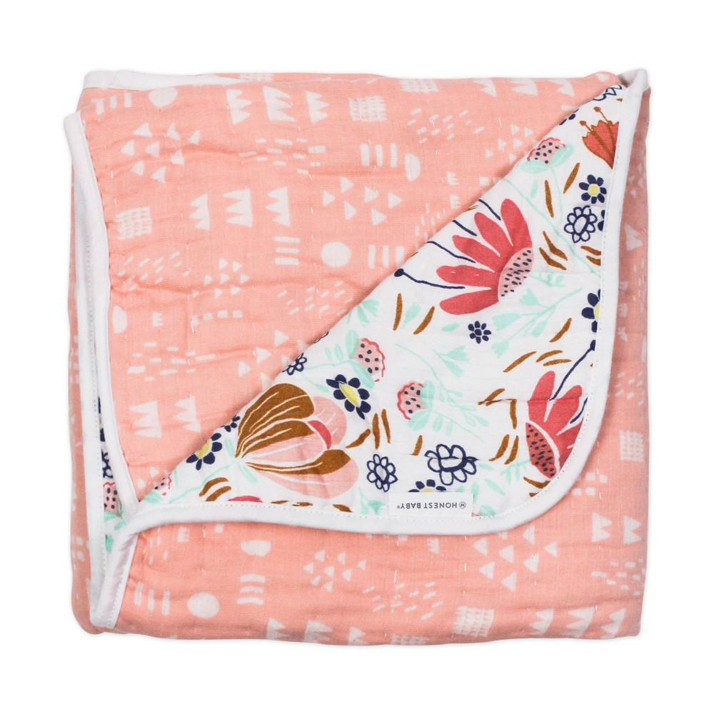 Honest Baby Organic Cotton Quilted Receiving Blanket Flower Power