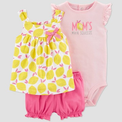 Baby Girls' 3pc Lemon Print Top and Bottom Set - Just One You® made by carter's Yellow/Pin/Peach 12M