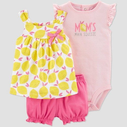 Baby Girls' 3pc Lemon Print Top and Bottom Set - Just One You® made by carter's Yellow/Pin/Peach - image 1 of 1