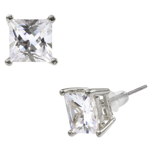 Square Crystal Stud - Silver - image 1 of 1