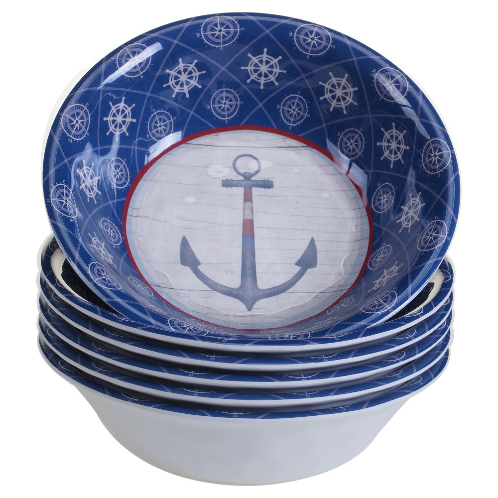 Certified International Nautique by James Wiens Melamine Bowls 22oz Blue - Set of 6