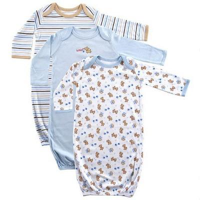 Luvable Friends Baby Boy Cotton Long-Sleeve Gowns 3pk, Blue, 0-6 Months