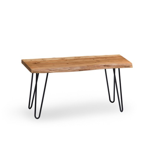 Alaterre Furniture Hairpin Natural Brown Live Edge Wood with Metal Bench - image 1 of 4