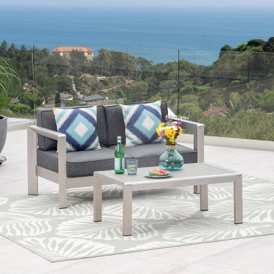 Aviara 2pc Aluminum Patio Loveseat and Coffee Table Set - Christopher Knight Home