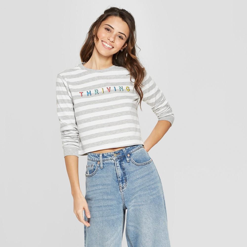 Women's Long Sleeve Thriving Graphic T-Shirt - Freeze (Juniors') Gray M, Gray White