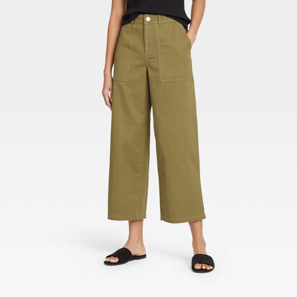 Women 39 S High Rise Wide Leg Pants Who What Wear 8482 Deep Olive 2