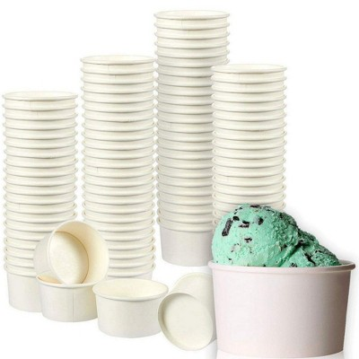 Juvale 200-Pack 8 oz White Disposable Paper Ice Cream Sundae Treat Cup Dessert Bowls Party Supplies