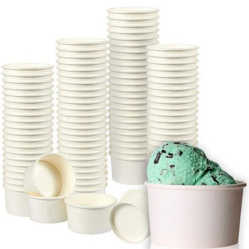 Juvale 200-Pack 8 oz White Disposable Paper Ice Cream Sundae Treat Cup Dessert Bowls Party Supplies - image 1 of 4