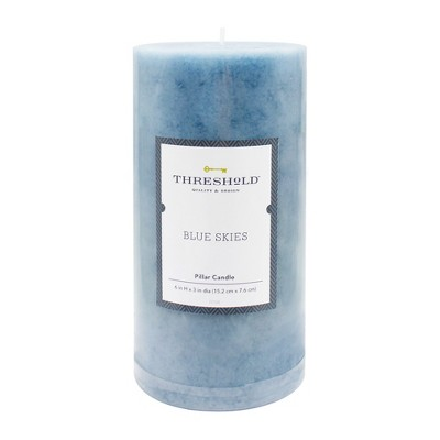 6  x 3  Mottled Pillar Candle Blue Skies - Threshold™