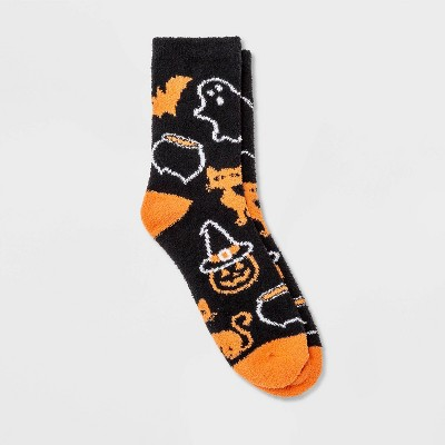 Women's Cozy Halloween Crew Socks - Hyde & EEK! Boutique™ Black 4-10