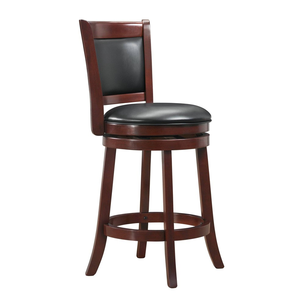 """Image of """"24"""""""" Piacenza Swivel Faux Leather Counter Stool Black - Inspire Q"""""""