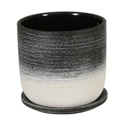 """6"""" Ceramic Planter with Saucer Black - Sagebrook Home"""