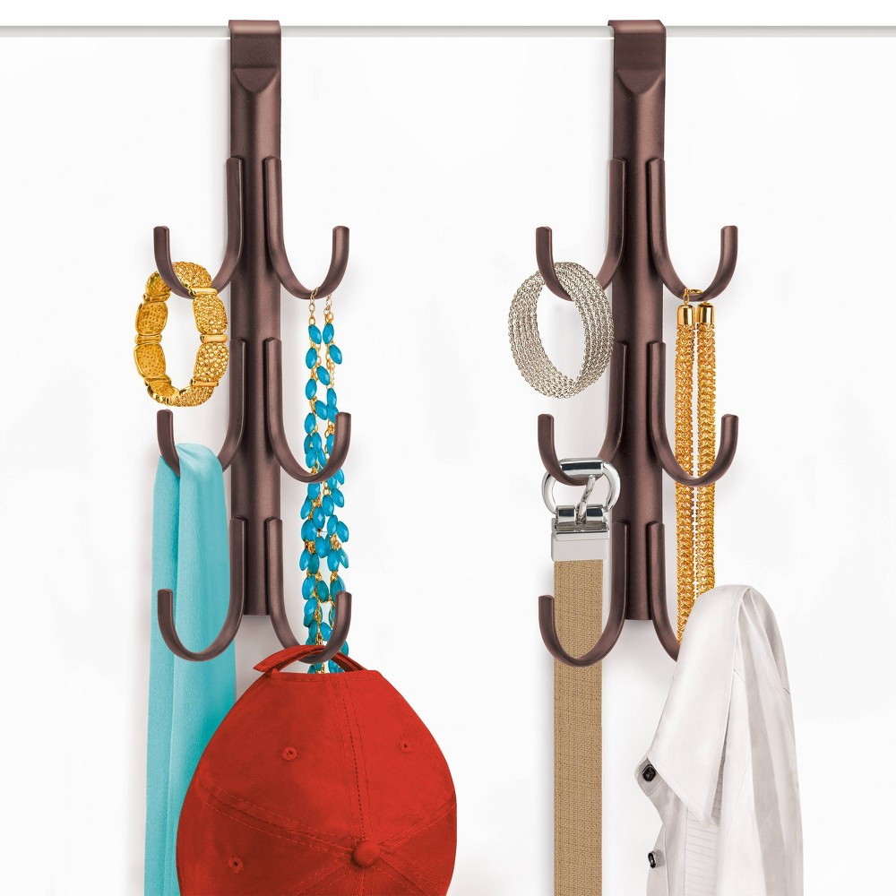 Image of Lynk Over Door Hook Rack Jewelry Organizer Vertical 6 Hook Rack - Bronze, Yellow