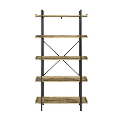 "68"" 5 Tray Shelf Urban Pipe X Back Bookshelf Barnwood - Saracina Home"