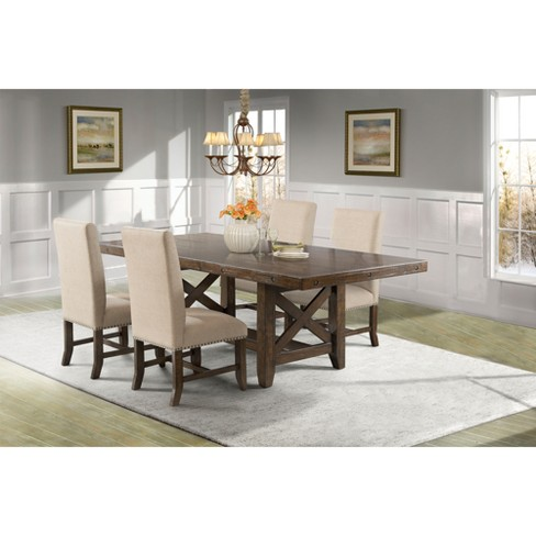 Francis Dining 5pc Set Table And 4 Fabric Back Side Chairs Brown - Picket House Furnishings - image 1 of 4