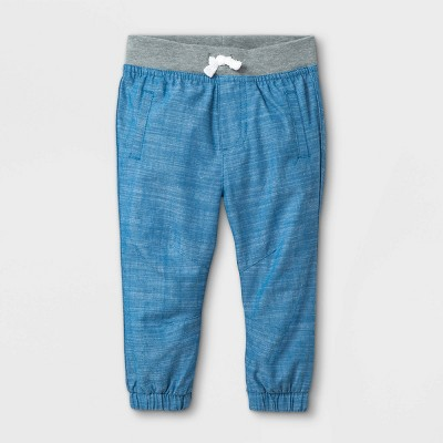 Baby Boys' Chambray Woven Jogger Pull-On Pants - Cat & Jack™ Blue Newborn