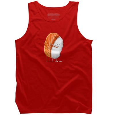 Design by Humans Mens Food Regular Fit Sleeveless Crew Graphic Tee - Red Small
