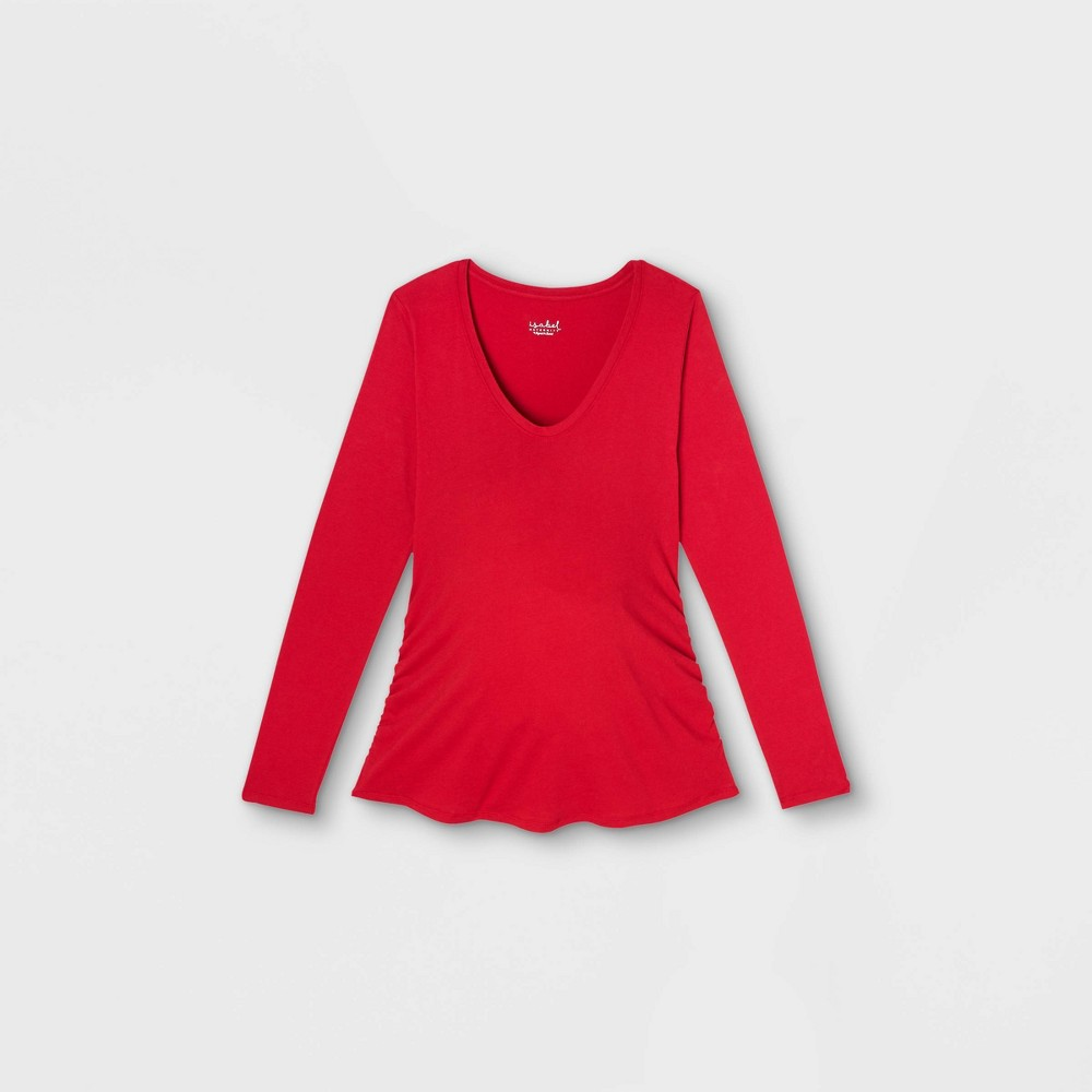 Maternity Long Sleeve Scoop Neck Side Shirred T Shirt Isabel Maternity By Ingrid 38 Isabel 8482 Red L