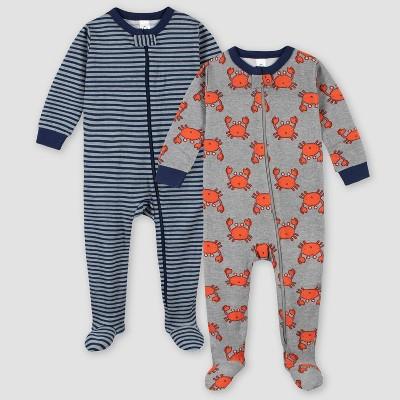 Gerber Boys' 2pk Footed Pajama - Gray 6M