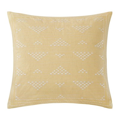 Cario Embroidered Square Throw Pillow Yellow