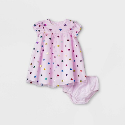 Baby Girls' Mia & Mimi Heart Dress - Pink 3-6M