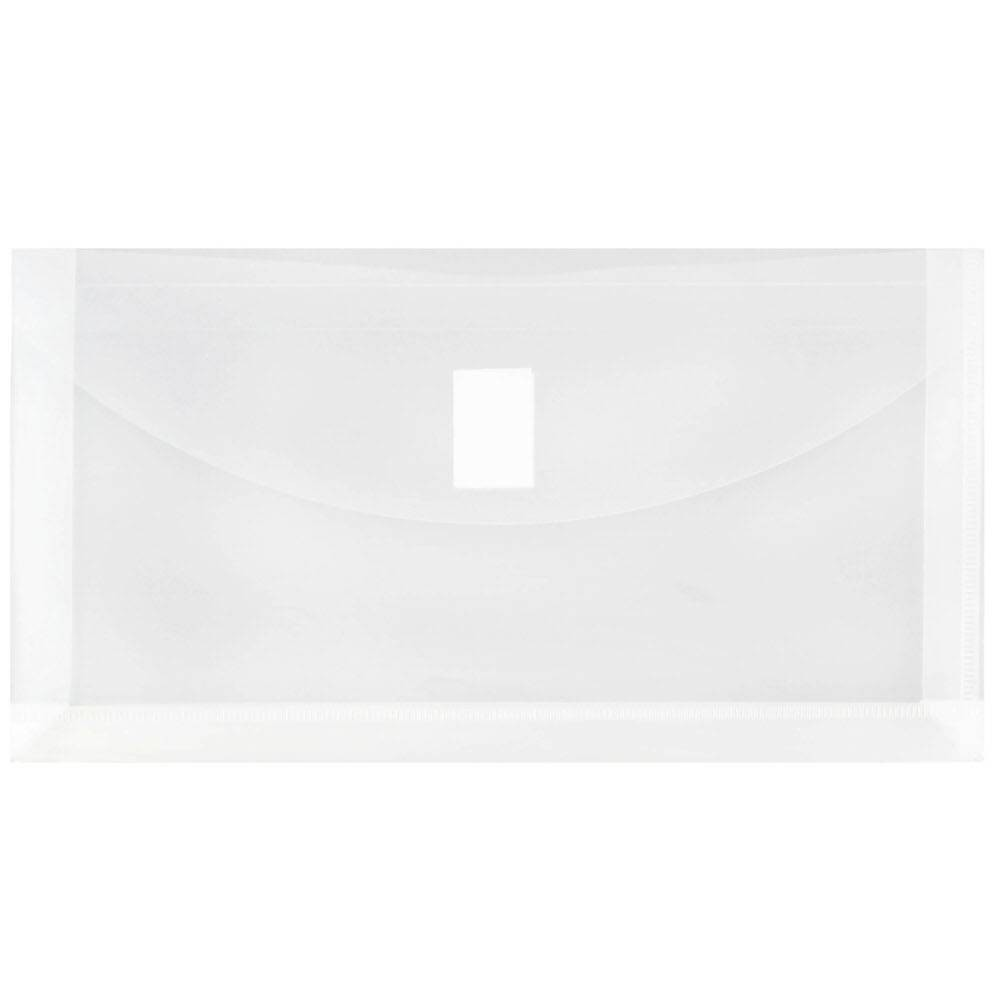 Jam Paper 5 1/4'' x 10'' 12pk Plastic Envelopes with Hook & Loop Closure, 1 Expansion - Clear Jam Paper 5 1/4'' x 10'' 12pk Plastic Envelopes with Hook & Loop Closure, 1 Expansion - Clear