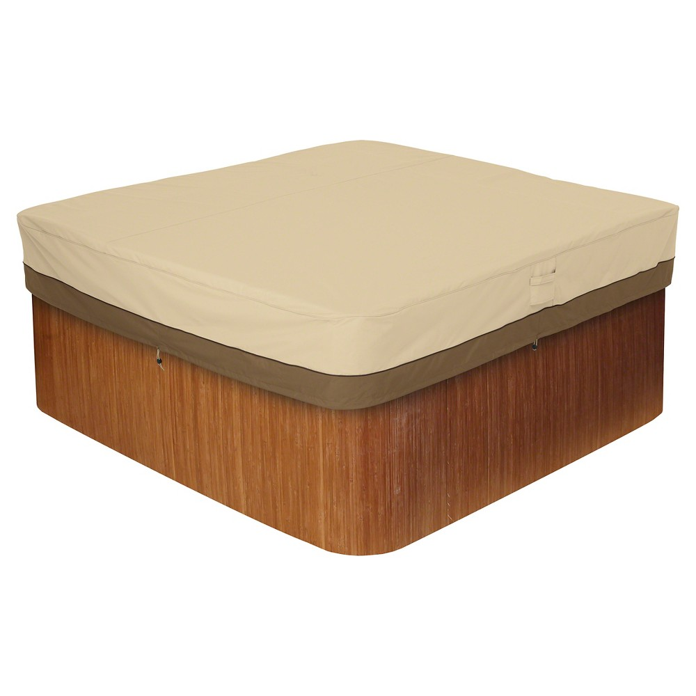 "Image of ""Veranda Large Square Hot Tub Cover 94"""" - Light Pebble - Classic Accessories, Gray"""