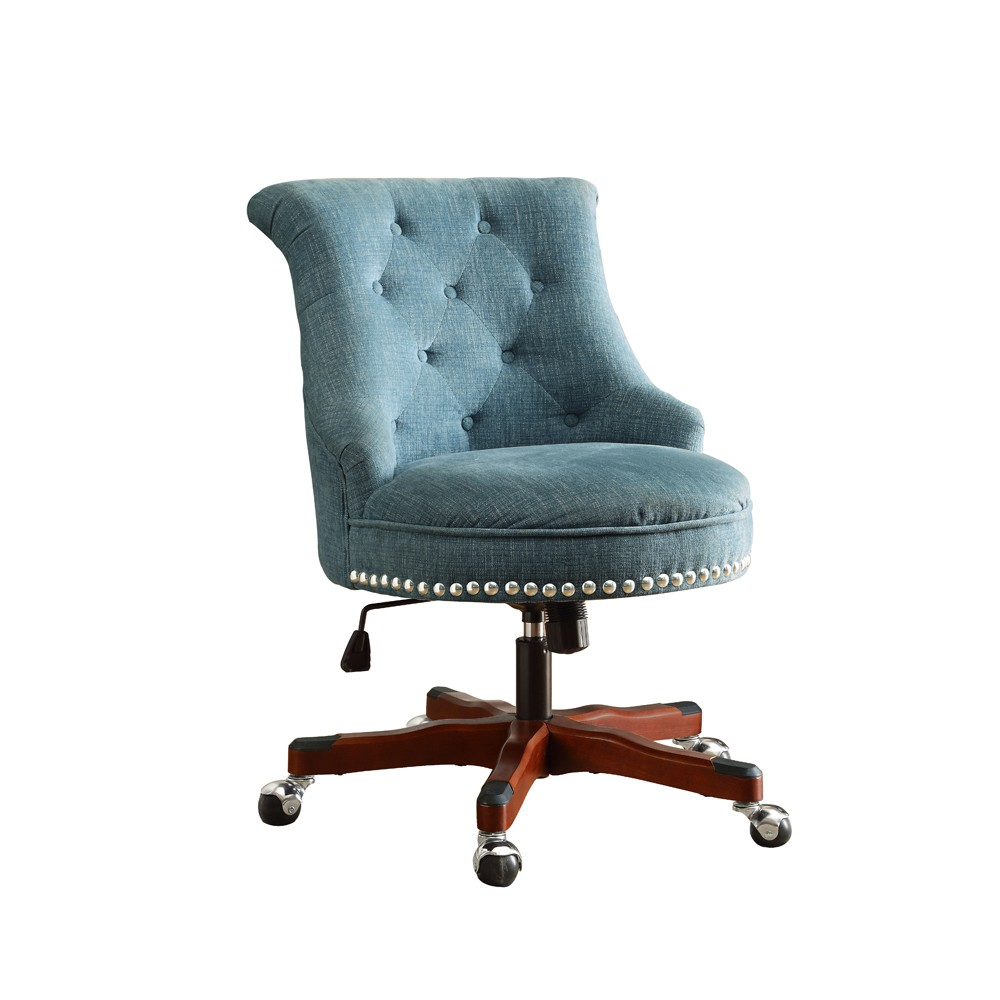 Upholstered Chair in a swivel base, Blue