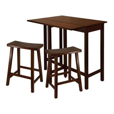 "3pc 24"" Lynnwood High Drop Leaf Counter Height Extendable Dining Table Set with Saddle Seat Stool Walnut - Winsome"