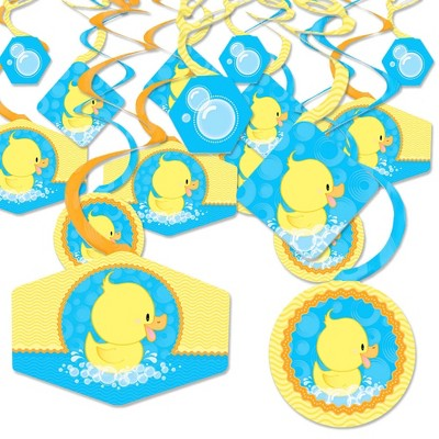 Big Dot of Happiness Ducky Duck - Baby Shower or Birthday Party Hanging Decor - Party Decoration Swirls - Set of 40