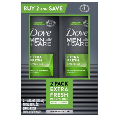 Dove Men+Care Extra Fresh Micro Moisture Cooling Body Wash - 18 fl oz/2pk