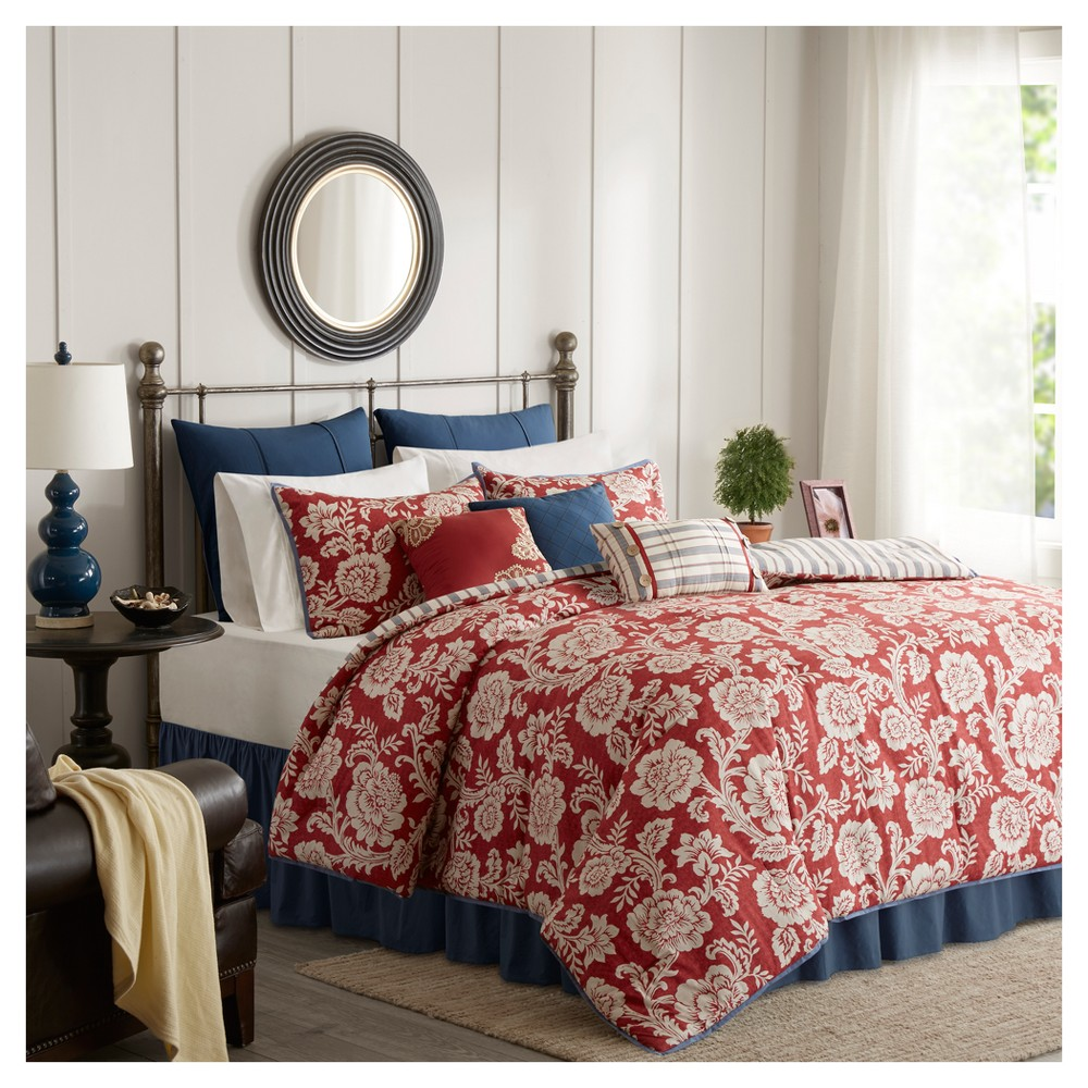 Red Rose Cotton Twill Comforter Set (California King) 9pc