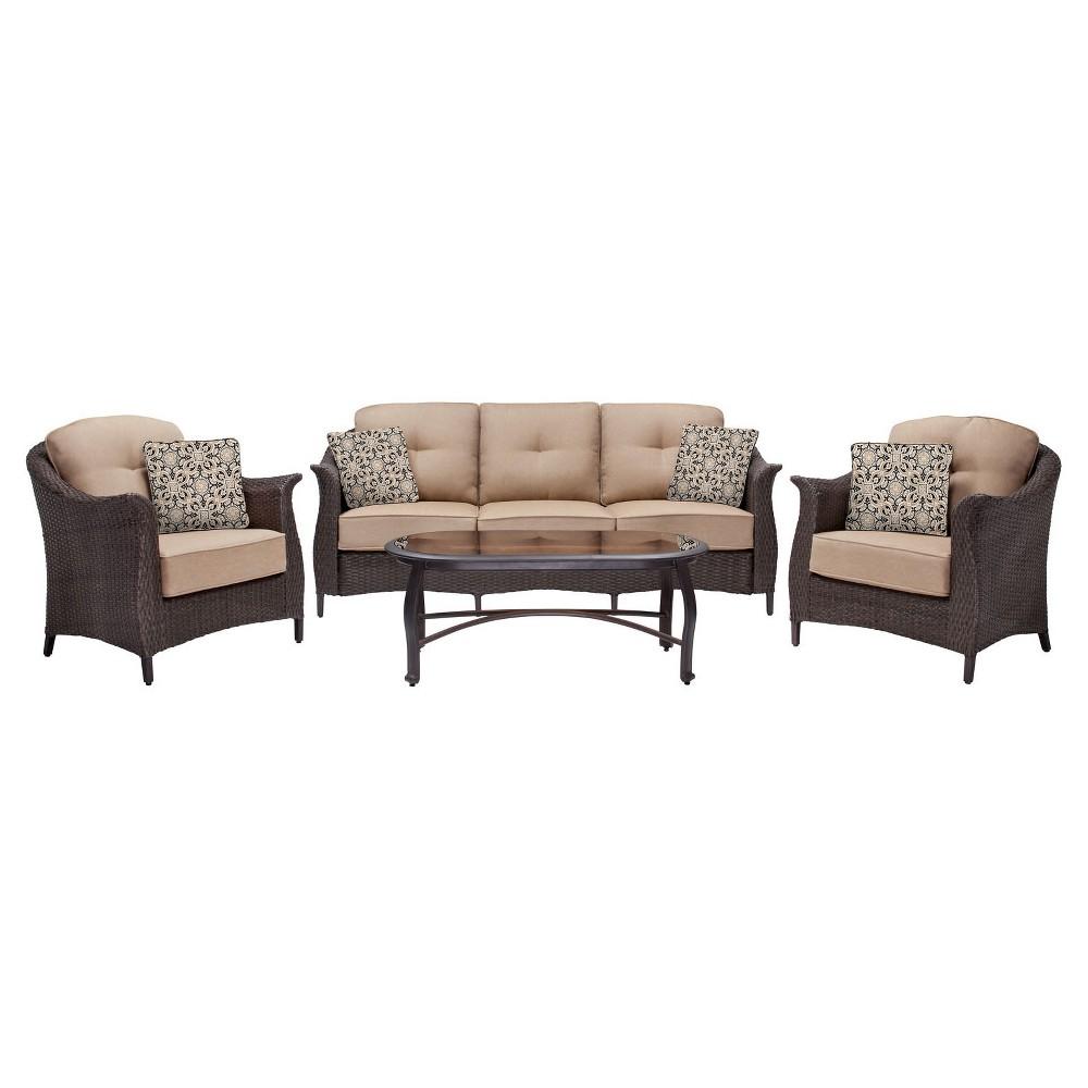 Hanover 4-Piece Outdoor Gramercy Wicker Patio Seating Set, Beige