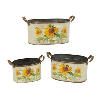 Gerson International Assorted Metal Nesting Sunflower Decorative Buckets, Set of 3