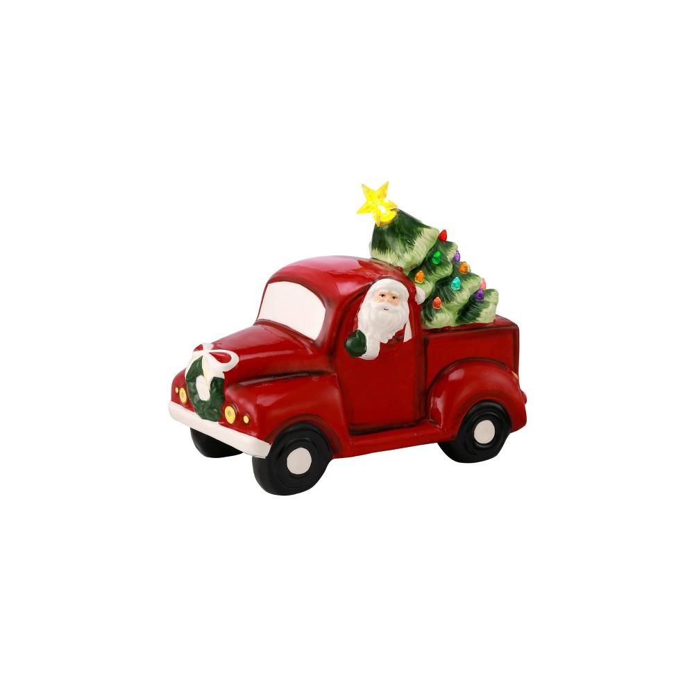 Image of Porcelain Santa Pickup Decorative Figurine Green - Mr. Christmas