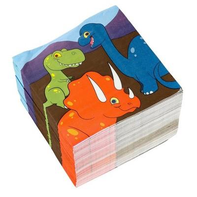 "Blue Panda 150-Pack Disposable Paper Napkins Dinosaur Party Supplies 6.5""x6.5"""