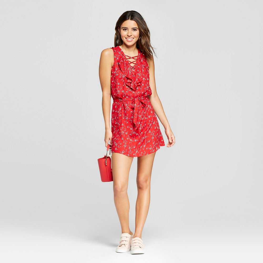 Women's Floral Ruffle Lace-Up Dress - 3Hearts (Juniors') Red L, Size: Small, Beige Red was $29.98 now $13.49 (55.0% off)