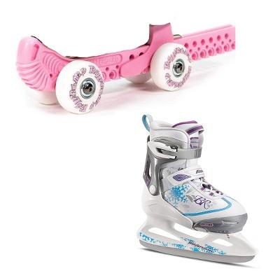 Rollergard Slip-On ROC-N-Roller Figure Skate Rolling Guard, Pink (2 Pack) & Rollerblade Bladerunner Micro Ice G Girls Skates, Small, White/Blue